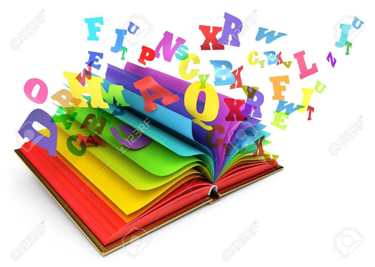 17049601-Lettres-de-vol-partir-d-un-livre-ouvert-un-livre-magique-conte-Banque-dimages