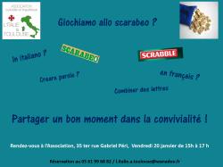 """Nouvelle activité ! Club Scrabble et/ou """"Scarabeo"""" en français et en italien!"""