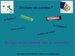 """Club SCRABBLE et/ou """"SCARABEO"""" en français et en italien! Un Vendredi par mois"""