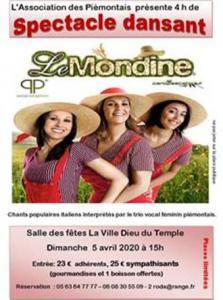 """SPECTACLE DANSANT avec """"LE MONDINE"""" / 5 AVRIL 2020: ANNULE'"""